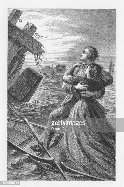 Tom and Maggie Tulliver being run down by machinery from Dolcote Mill that has broken away in the flood They die in a close embrace and the...