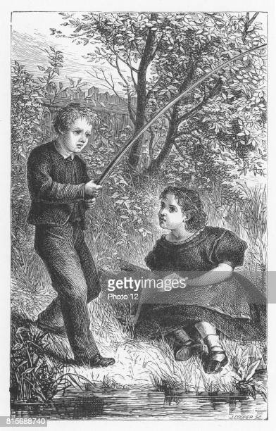 Tom and Maggie Tulliver fishing in childhood 'It was one of their happy mornings' Illustration by Walter James Allen for an undated 19th century...