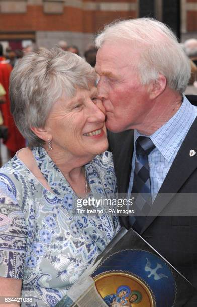 Tom and Maureen Malloy from North London celebrate their 40th anniversary outside Westminster Cathedral in London after hundreds of couples renewed...