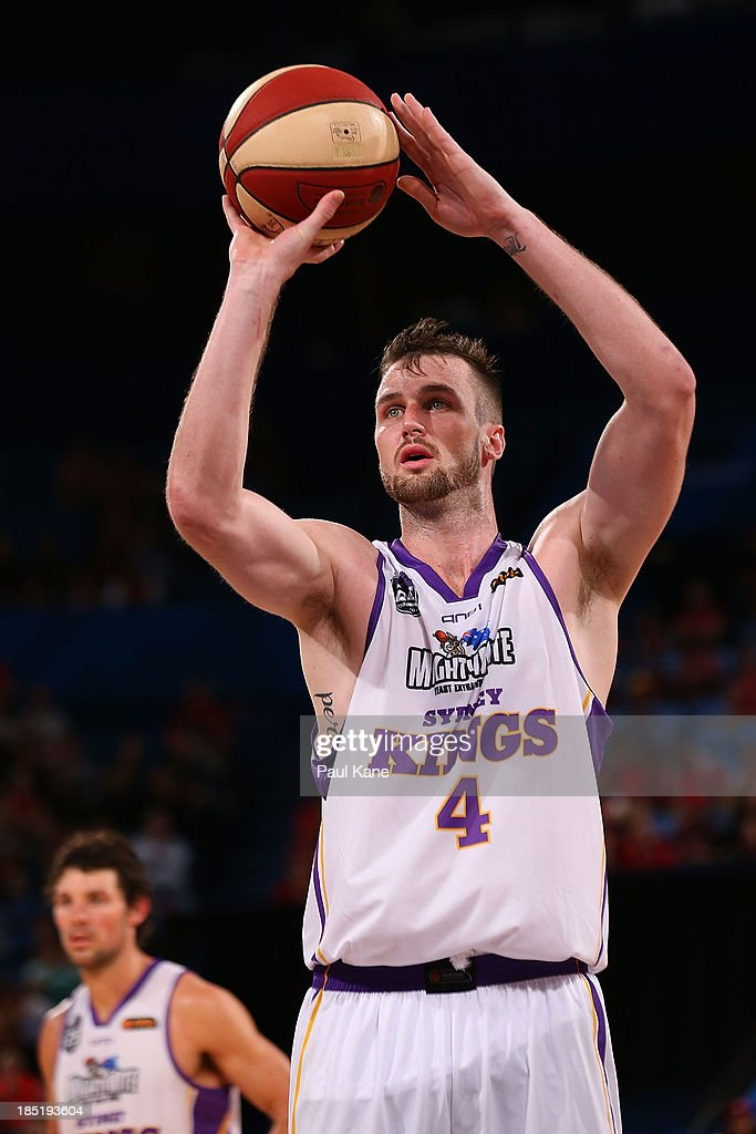Tom Andrew Ogilivy of the Kings shoots a free throw during the round two NBL match between the Perth Wildcats and the Sydney Kings at Perth Arena in October 18, 2013 in Perth, Australia.