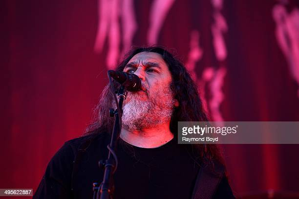 Tom Araya from Slayer performs at Columbus Crew Stadium on May 17 2014 in Columbus Ohio