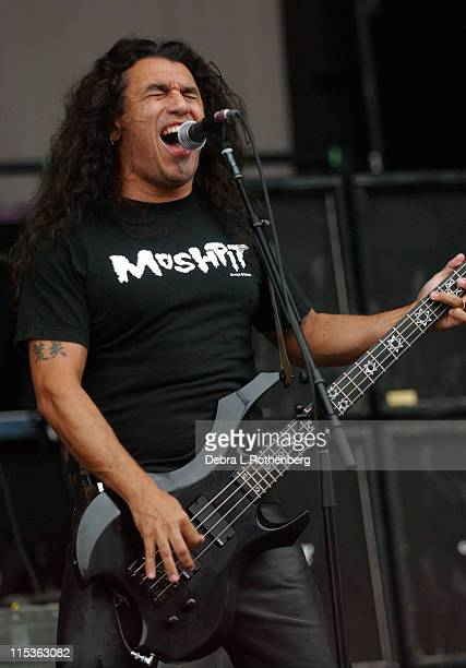 Tom Araya of Slayer during Ozzfest July 14 2004 at Jones Beach in Wantaugh New York United States