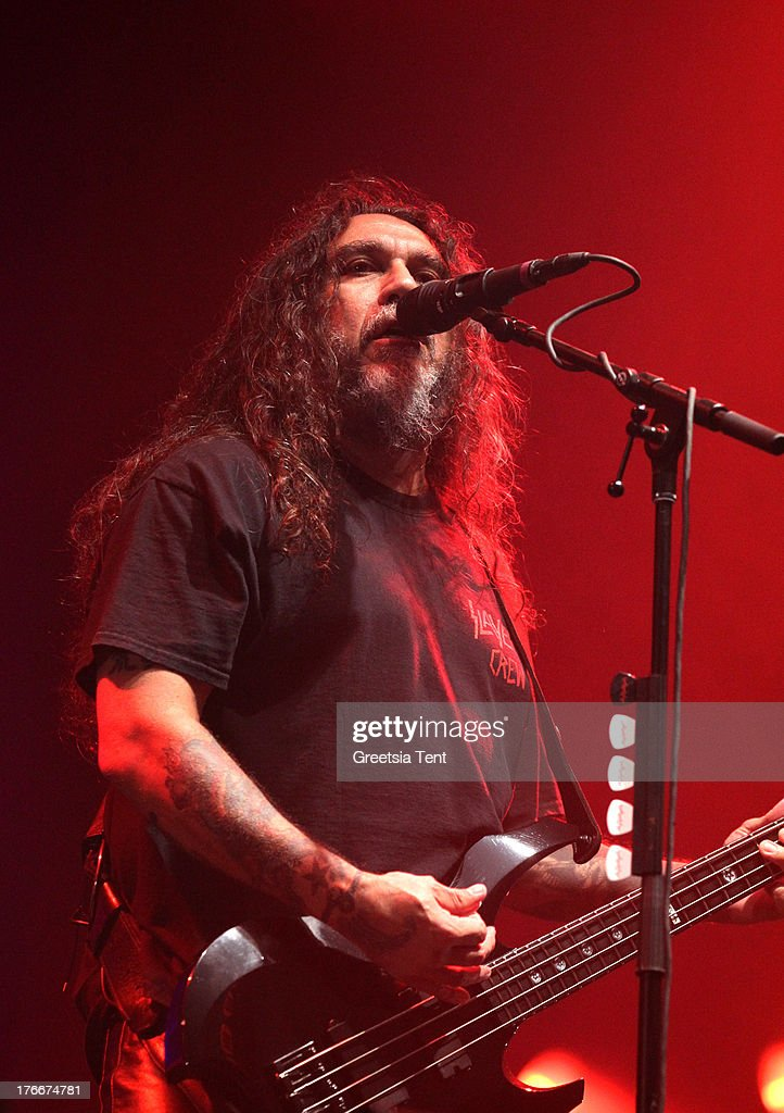 <a gi-track='captionPersonalityLinkClicked' href=/galleries/search?phrase=Tom+Araya&family=editorial&specificpeople=235893 ng-click='$event.stopPropagation()'>Tom Araya</a> of Slayer performs at day one of the Lowlands Festival on August 16, 2013 in Biddinghuizen, Netherlands.