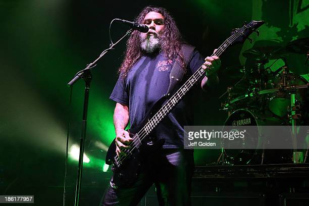 Tom Araya of Slayer performs at The Hollywood Palladium on October 28 2013 in Los Angeles California