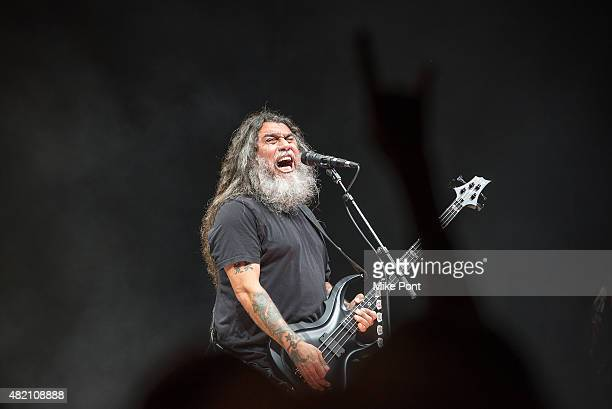 Tom Araya of Slayer performs during the 2015 Rockstar Energy Drink Mayhem Festival at Nikon at Jones Beach Theater on July 26 2015 in Wantagh New York