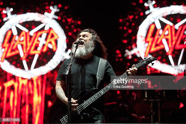 Tom Araya of Slayer performs during Voodoo Fest at New Orleans City Park on October 31 2014 in New Orleans Louisiana