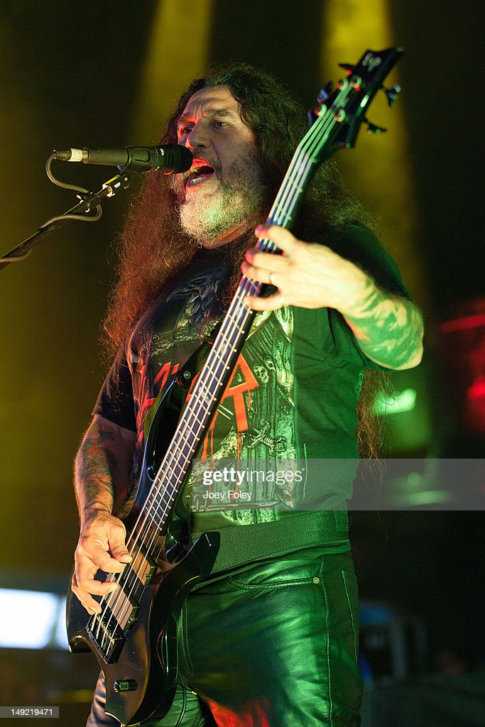 Tom Araya of Slayer performs onstage during the 2012 Rockstar Energy Drink Mayhem Festival at the Riverbend Music Center on July 24, 2012 in Cincinnati, Ohio.