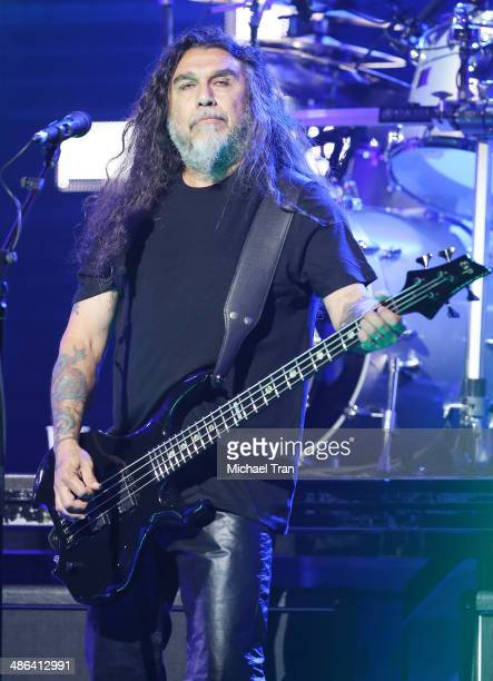 Tom Araya of Slayer performs onstage during the 6th Annual Revolver Golden Gods Award Show held at Club Nokia on April 23 2014 in Los Angeles...