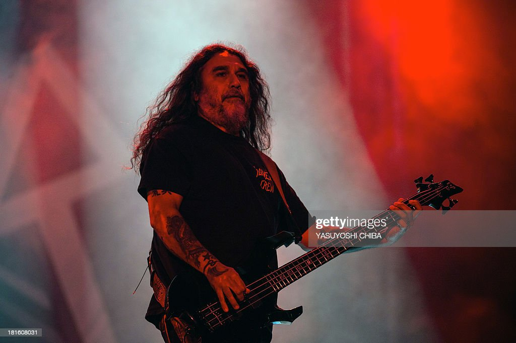 Tom Araya of US thrash metal band Slayer performs during the final day of the Rock in Rio music festival in Rio de Janeiro, Brazil, on September 22, 2013.