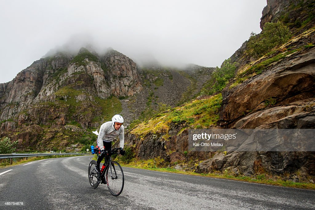 Tom Arne Arnesen at the bikeleg of the Lofoten Triathlon Test Race on August 29 2015 in Svolvar Norway 20 athletes have been invited to participate...