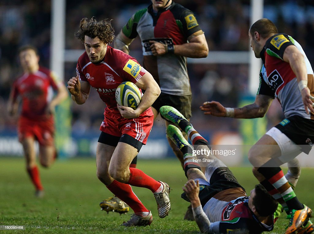 Tom Arscott of London Welsh in action during the LV= Cup match between Harlequins and London Welsh at Twickenham Stoop on January 26, 2013 in London, England.