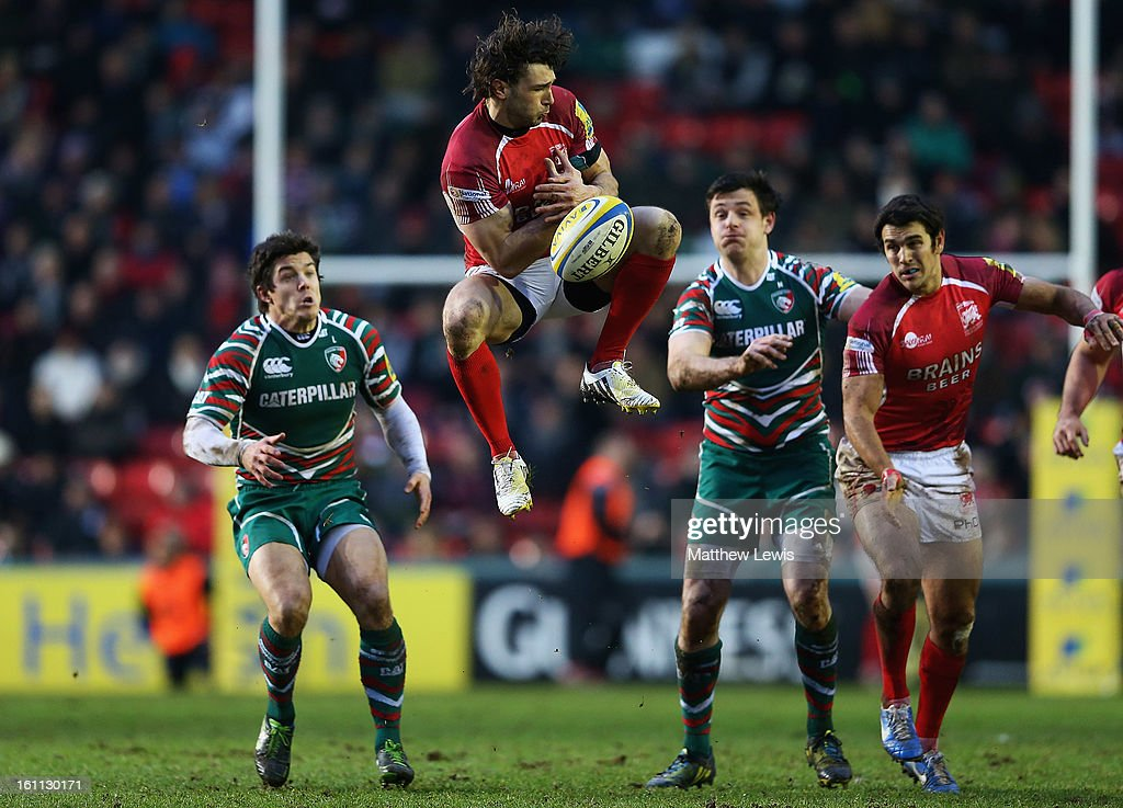 Tom Arscott of London Welsh looks to catch a high ball during the Aviva Premiership match between Leicester Tigers and London Welsh at Welford Road on February 9, 2013 in Leicester, England.