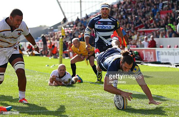 Tom Arscott of Sale Sharks dives over the line to score the opening try during the Aviva Premiership match between Sale Sharks and Wasps at AJ Bell...