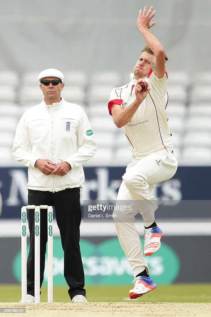 Tom Bailey of Lancashire bowls during day one of the Specsavers County Championship: Division One match between Yorkshire and Lancashire at Headingley on May 29, 2016 in Leeds, England.