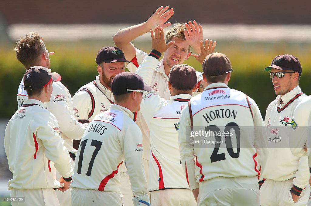 Tom Bailey of Lancashire celebrates taking the wicket of Billy Godleman of Derbyshire during the LV County Championship Division Two match between...