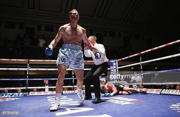 Tom Baker after knocking down Jack Morris during the English LightHeavyweight Championship fight between Tom Baker and Jack Morris at York Hall on...