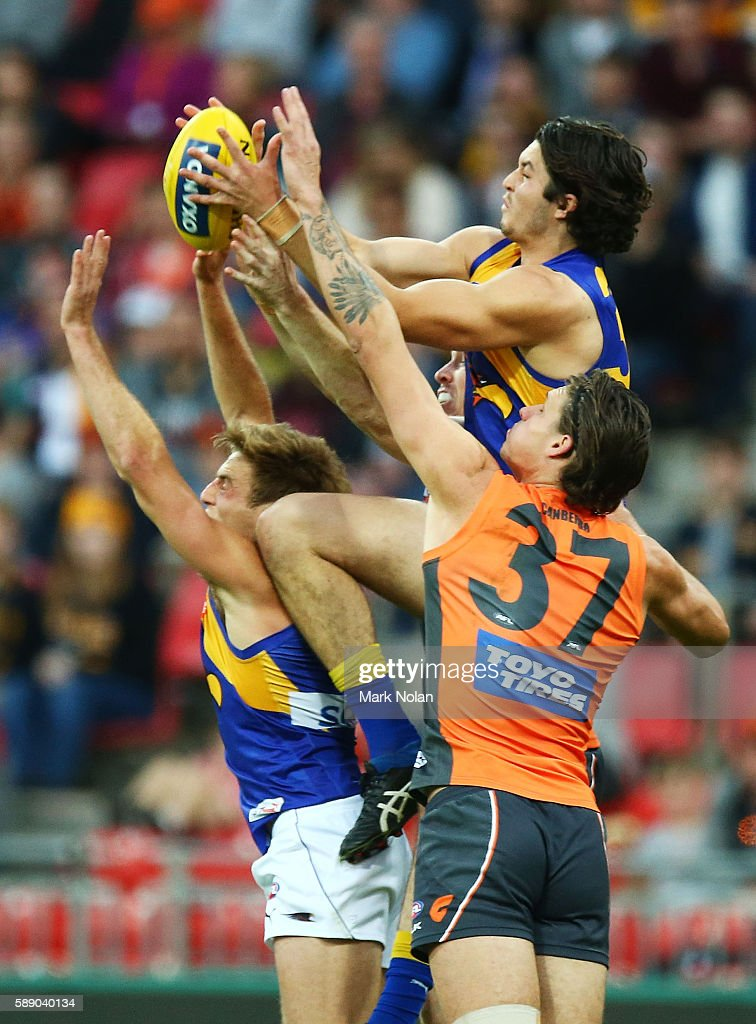 Tom Barrass of the Eagles and Rory Lobb of the Giants contest a mark during the round 21 AFL match between the Greater Western Sydney Giants and the...