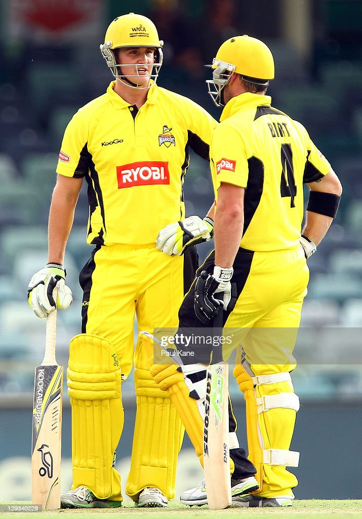 Tom Beaton and Travis Birt of the Warriors talk mid wicket during the Ryobi One-Day Cup match between the West Australian Warriors and the Tasmanian Tigers at the WACA on October 16, 2011 in Perth, Australia.