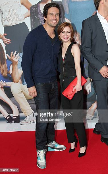 Tom Beck and Josefine Preuss attend the premiere of the film 'Irre sind maennlich' at Mathaeser Filmpalast on April 10 2014 in Munich Germany