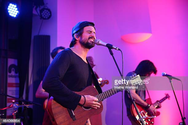 Tom Beck sings on stage at the Tom Beck Record Release Party at 'die maske' on February 21 2015 in Cologne Germany