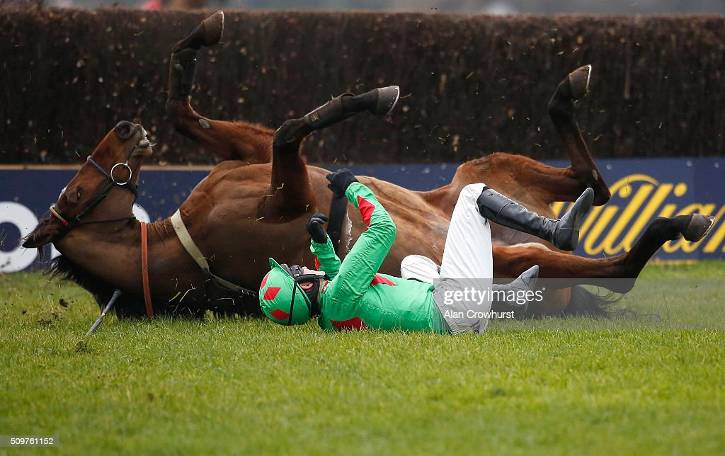 Tom Bellamy riding Devil To Pay fall at the last as both horse and jockey form similar shapes at Kempton Park racecourse on February 12, 2016 in Sunbury, England.