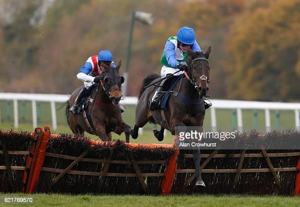 Tom Bellamy riding Midnight Gem clear the last to win The Pellys Solicitors Pettifoggers Party Handicap Hurdle Race at Huntingdon racecourse on...