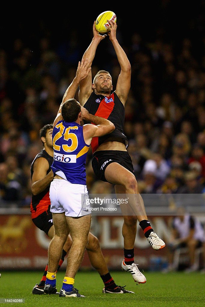Tom Bellchambers of the Bombers takes a mark during the round seven AFL match between the Essendon Bombers and the West Coast Eagles at Etihad Stadium on May 12, 2012 in Melbourne, Australia.