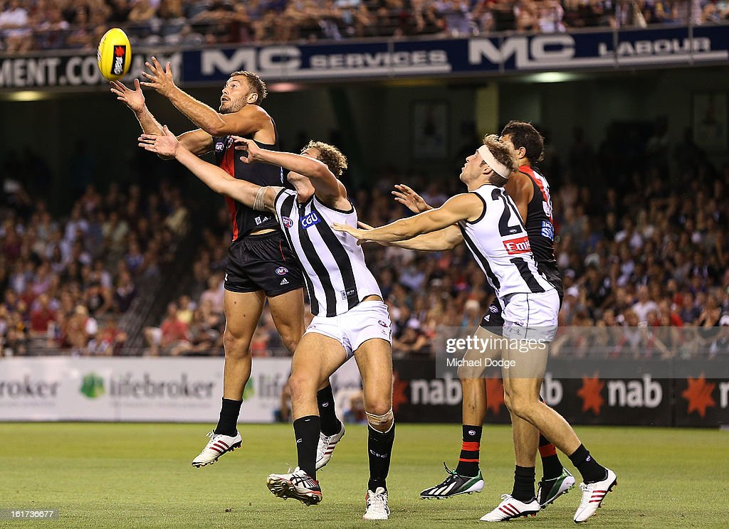 Tom Bellchambers of the Essendon Bombers marks the ball during the round one AFL NAB Cup match between the Collingwood Magpies and the Essendon Bombers at Etihad Stadium on February 15, 2013 in Melbourne, Australia.