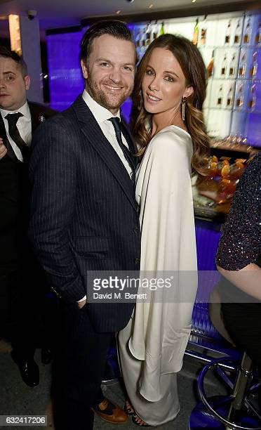 Tom Bennett and Kate Beckinsale attend The London Critics' Circle Film Awards after party in the May Fair Bar at the May Fair Hotel on January 22...