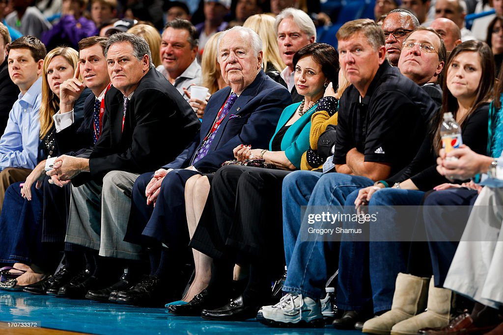Tom Benson, owner of the New Orleans Hornets, looks on as his team plays the Minnesota Timberwolves on December 14, 2012 at the New Orleans Arena in New Orleans, Louisiana.