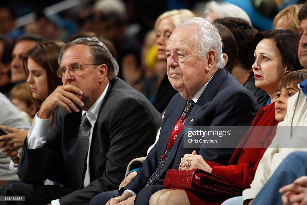 Tom Benson, owner of the New Orleans Hornets watches the game against the Washington Wizards at New Orleans Arena on December 11, 2012 in New Orleans, Louisiana.