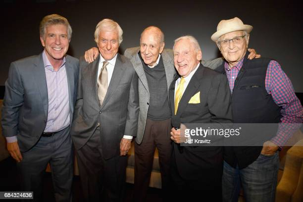 Tom Bergeron Dick Van Dyke Carl Reiner Mel Brooks and Norman Lear at the LA Premiere of 'If You're Not In The Obit Eat Breakfast' from HBO...