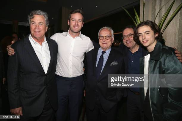 Tom Bernard Armie Hammer James Ivory Michael Barker and Timothee Chalamet attend Calvin Klein and The Cinema Society host the after party for Sony...