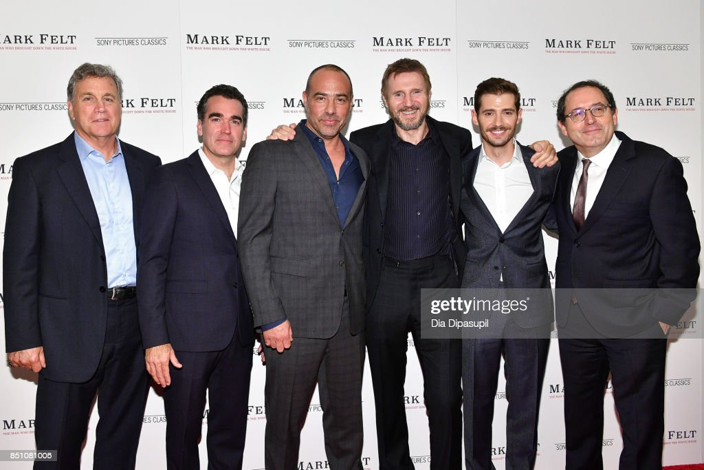 Tom Bernard, Brian d'Arcy James, Peter Landesman, Liam Neeson, Julian Morris, and Michael Barker attend the 'Mark Felt: The Man Who Brought Down the White House' New York premiere at The Whitby Hotel on September 21, 2017 in New York City.