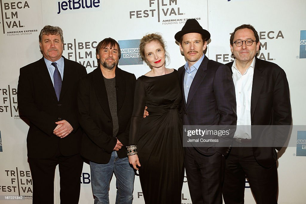 Tom Bernard director and screenwriter Richard Linklater Julie Delpy Ethan Hawke and Michael Barker attend the 'Before Midnight' New York premiere...