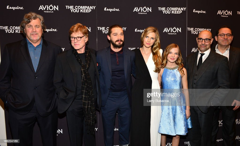 Tom Bernard, Director\Actor Robert Redford, Shia LaBeouf, Brit Marling, Jackie Evancho, Stanley Tucci and Michael Barker attend 'The Company You Keep' New York Premiere at The Museum of Modern Art on April 1, 2013 in New York City.