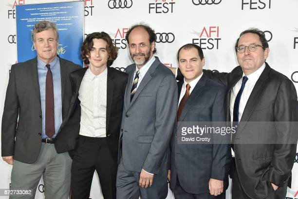 Tom Bernard Timothee Chalamet Luca Guadagnino Michael Stuhlbarg and Michael Barker attend the AFI FEST 2017 Premiere Of 'Call Me By Your Name'...