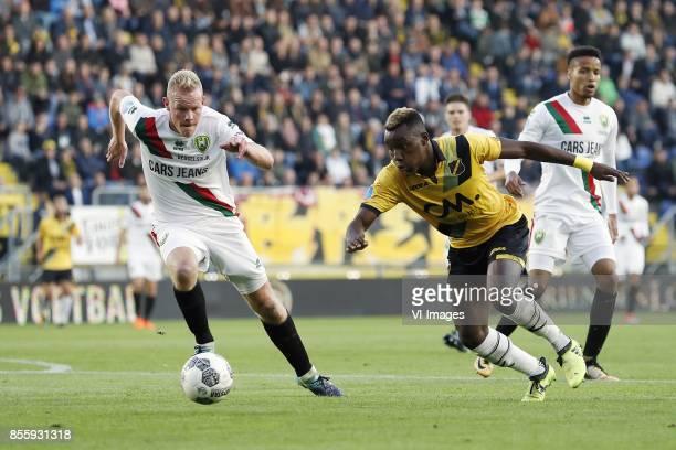 Tom Beugelsdijk of ADO Den Haag Thierry Ambrose of NAC Breda Tyronne Ebuehi of ADO Den Haag during the Dutch Eredivisie match between NAC Breda and...