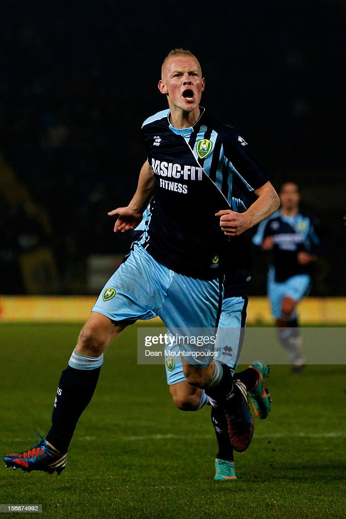 Tom Beugelsdijk of Den Haag celebrates scoring the first goal of the game during the Eredivisie match between NAC Breda and ADO Den Haag at the Rat Verlegh Stadium on November 23, 2012 in Breda, Netherlands.