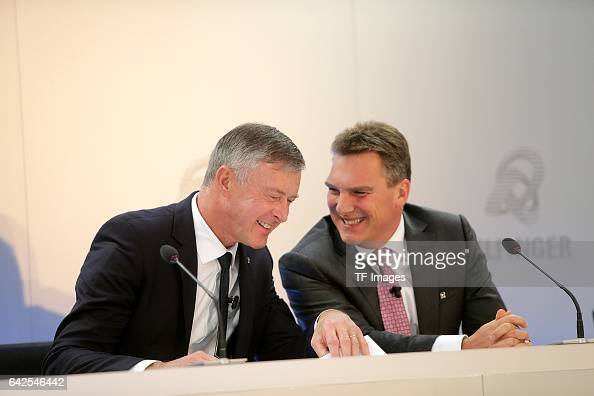 Tom Blades Chairman of the Executive Board Dr Klaus Patzak Chief Financial Officer looks on during an annual press conference to present the 2016...