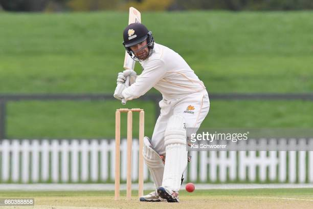 Tom Blundell of Wellington batting during the Plunket Shield match between Canterbury and Wellington on March 30 2017 in Christchurch New Zealand