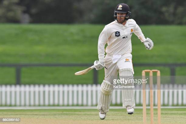 Tom Blundell of Wellington makes a run during the Plunket Shield match between Canterbury and Wellington on March 30 2017 in Christchurch New Zealand
