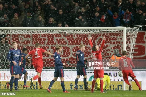 Tom Boere of FC Twente scores the sixth goal to make it 33 during the Dutch Eredivisie match between Fc Twente v Ajax at the De Grolsch Veste on...