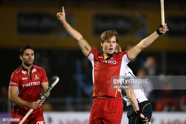 Tom Boon of Belgium celebrates his goal during day 9 of the FIH Hockey World League Men's Semi Finals final match between Belgium and Germany at Wits...