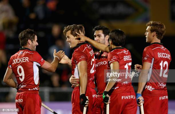 Tom Boon of Belgium celebrates scoring their teams third goal with teammates during day 2 of the FIH Hockey World League Semi Finals Pool B match...