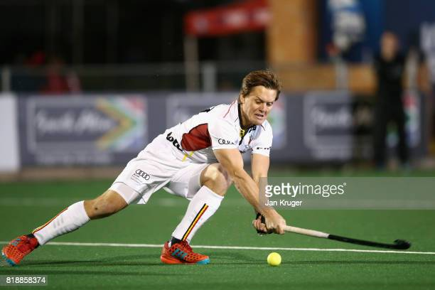 Tom Boon of Belgium scores his sides second goal during the Quarter final match between Belgium and New Zealand during Day 6 of the FIH Hockey World...