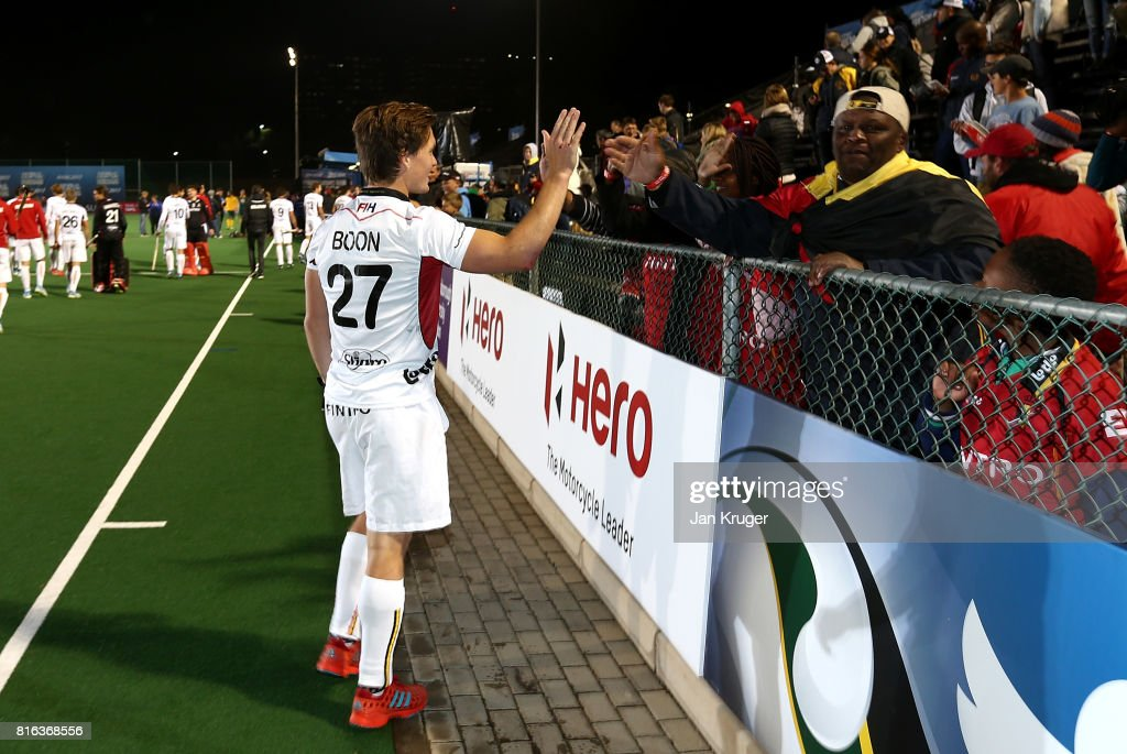 Tom Boon of Belgium thanks children from the Little Rose Children Centre for their support during day 5 of the FIH Hockey World League Men's Semi Finals Pool B match between South Africa and Belgium at Wits University on July 17, 2017 in Johannesburg, South Africa.