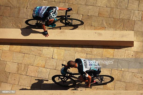 Tom Boonen of Belgium and Etixx QuickStep and team mate Iljo Keisse of Belgium ride to sign in for stage three of the 2015 Tour of Oman a 1585km road...