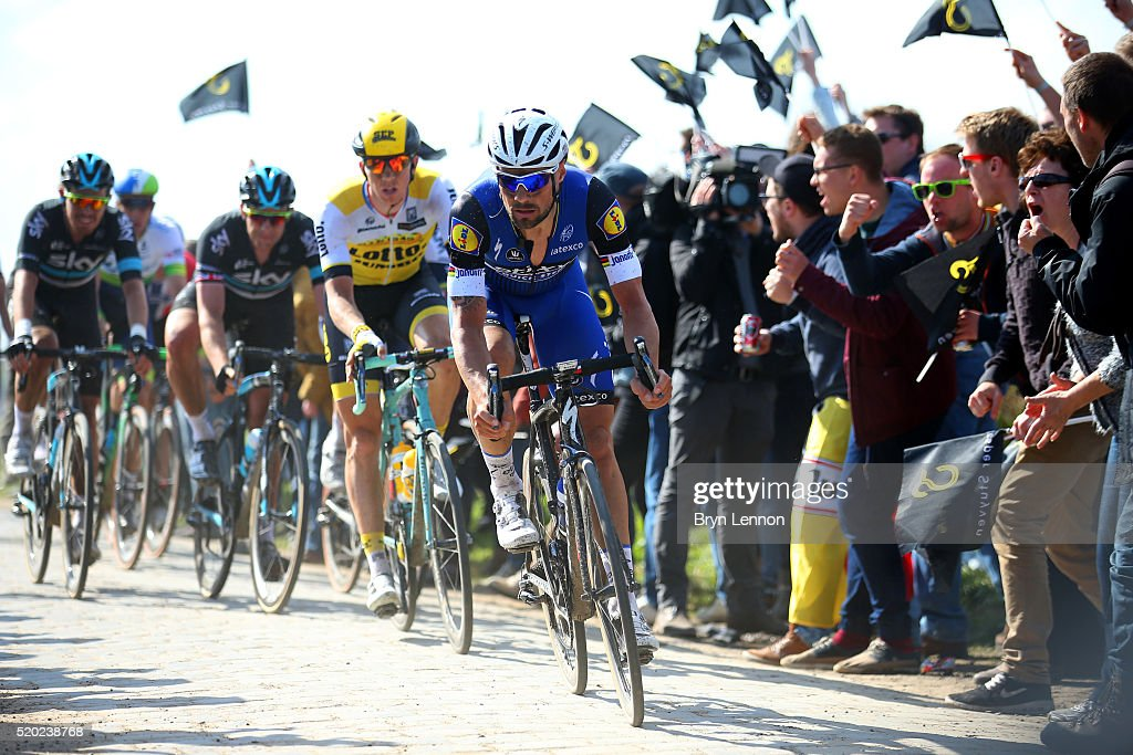 <a gi-track='captionPersonalityLinkClicked' href=/galleries/search?phrase=Tom+Boonen&family=editorial&specificpeople=221255 ng-click='$event.stopPropagation()'>Tom Boonen</a> of Belgium and Etixx - Quick-Step rides during the 2016 Paris - Roubaix cycle race from Compiegne to Roubaix on April 10, 2016 at an unspecified location along the route in France.