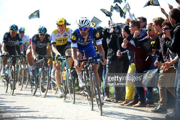 Tom Boonen of Belgium and Etixx QuickStep rides during the 2016 Paris Roubaix cycle race from Compiegne to Roubaix on April 10 2016 at an unspecified...